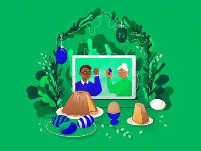 Stay Home, Stay Safe - Easter Illustration ipad breakfast plants portrait blue green procreate mobile easter family illustration