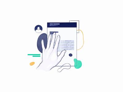 Resume Lab - Illustration Design System illustration design webdesign navy product illustration animation responsive design organic blue shapes resume hand procreate design system illustration