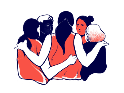 How to get the best out of a design team? fitness teamwork character procreate organic shapes textures minimalism red orange blue navy illustration team design