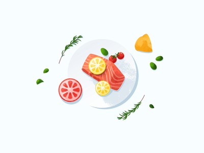 Food Illustration food delivery pink food and drink foodies food illustration food app plate lemon salmon tasty foodie food illustration illustrator