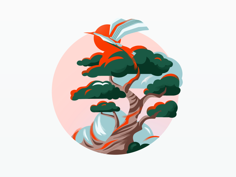 Bonzei - Key Visual bird green blue pink mindfulness relax meditate bonzai illustration key visual nature organic tree mobile app mobile app meditation app illustrator
