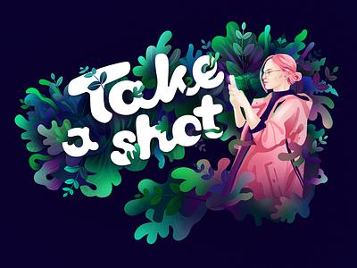 Take a shot! organic picture pink violet green leafs mobile shot shapes nature illustration