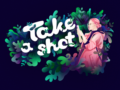 Take a shot! organic picture pink violet green leafs mobile shot shapes nature illustration
