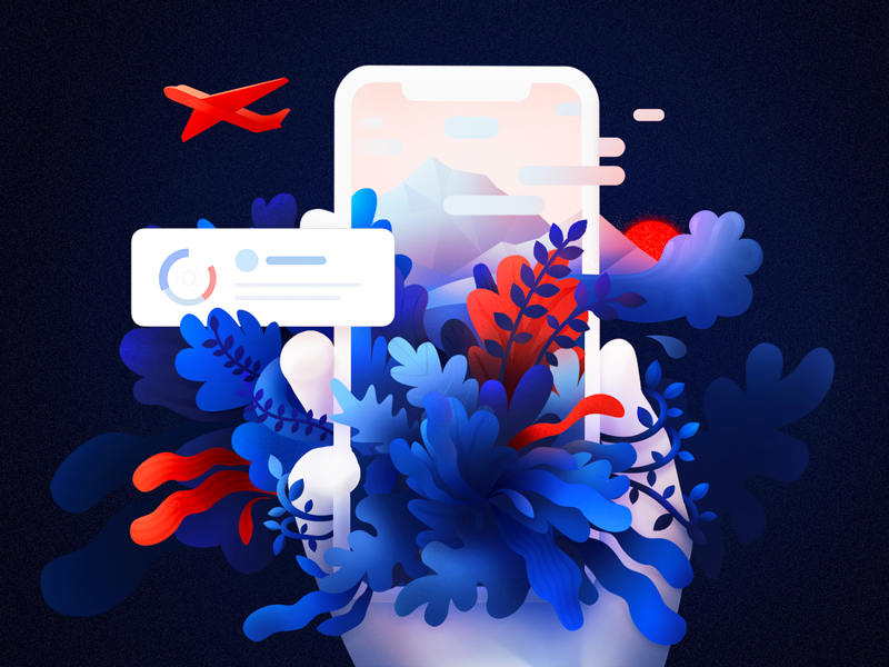 Journey of experience ux plane shapes red blue ui nature world journey travel illustration