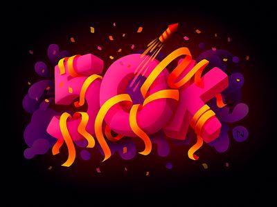 50k Followers! followers fireworks millestone cloud yellow ribbon illustration dribbble pink 50000 50k