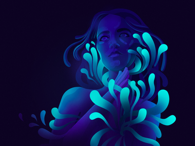 The Deepest Sound dark organic shapes light turquoise violet character woman music sound illustration