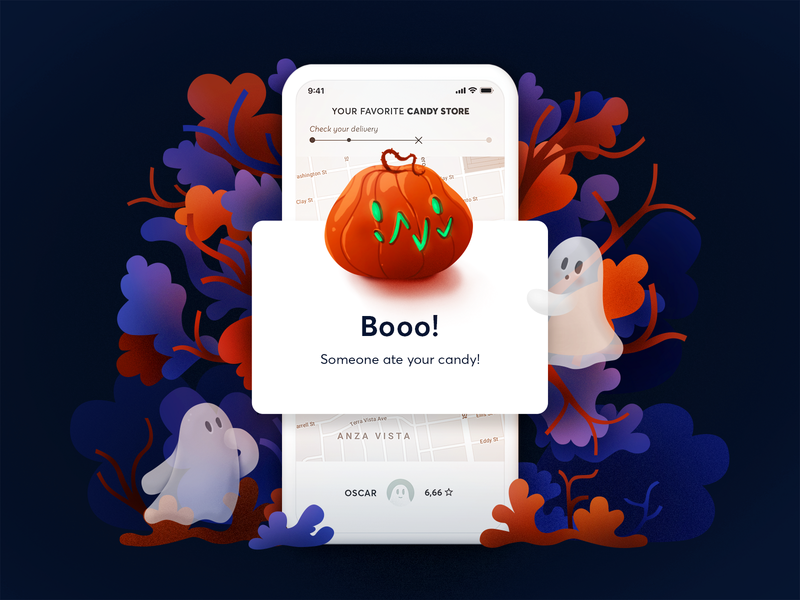 Error message - Halloween edition sweet autumn blue orange ui ghost pumpkin halloween nature shapes illustration