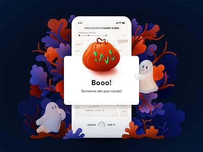 Error message - Halloween edition sweet autumn blue orange ui ghost pumpkin halloween nature shapes illustration