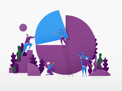 Funding Circle - Illustration people animation business redesign circle blue violet tech motion illustration fintech