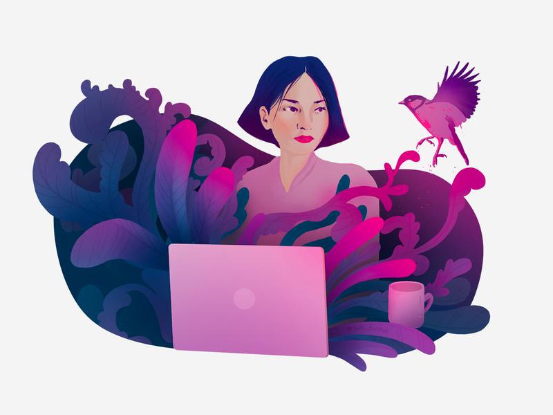 Product Illustration shapes mug laptop girl violet organic plants pink bird illustration product branding