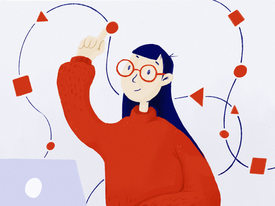 AI Employment Agent - Illustration animation process procreate character blue laptop girl ai shapes red illustration