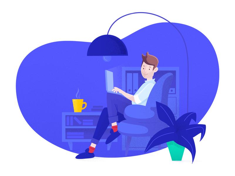 Illustration for Newst vector tech laptop shapes man blue cowork office workspace work illustration