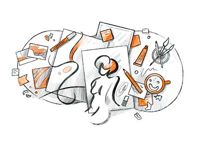 How to Improve Illustration Skills 1/4 pencil productivity woman artist tools grey orange skill procreate sketch illustration