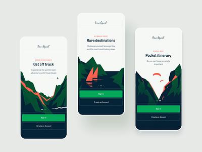 Travel Quest App - Onboarding Illustrations onboarding coral green product illustration product design ui adventures journey travel app mobile illustration