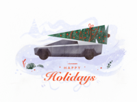 Christmas Card automotive retro car blue snow winter holidays cyber future christmas card illustration