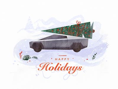 Christmas Card automotive retro car blue snow winter holidays cyber future christmas card illustration