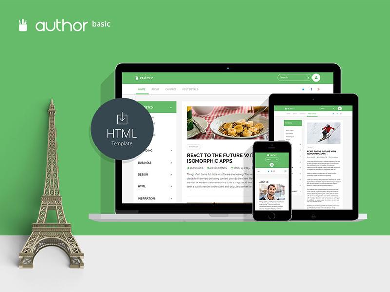 Free blogging HTML author basic northui free html template
