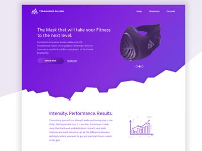 Training Mask Landing Page Concept training mask product landing ui website webdesign web design