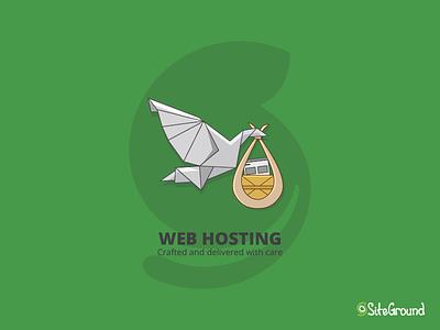 SiteGround Playoff baby web webhosting playoff craft delivery papercraft stork bird illustration