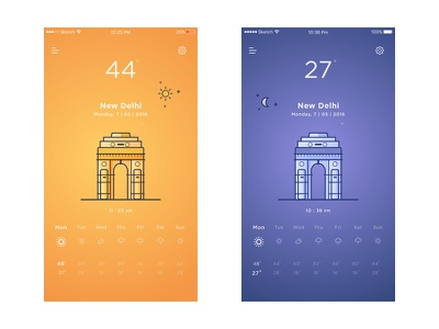 Weather App temperature moon sun card app illustration india gate delhi day  night weather debut