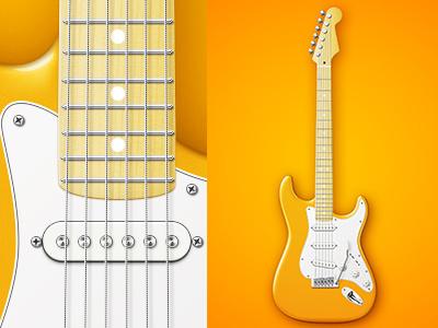 Fender Stratocaster music pixel perfect fender stratocaster full vector icon vector guitar illustration