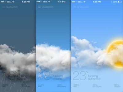 Weather App fun weather colors clean app ios7 minimal ui iphone icons