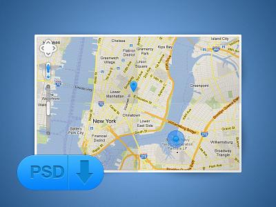 Map [@2x] map google maps ui free psd gui web design awesome blue texture