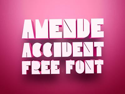 AMENDE font 3d work personal portfolio color free pink