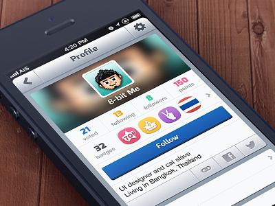 Profile page profile ios app iphone ui interface badge retina
