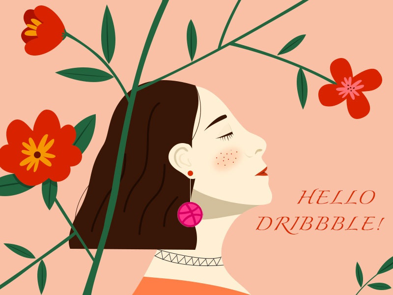 Hello Dribbble illustration dribbble flower girl