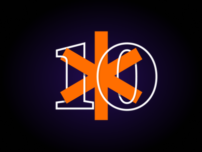 LB* is turning 10 this month! contrast outlines orange studio glow outline numbers asterisk design mark logo