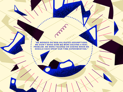 Lesson learned isometry explosion colors article vector grain grainy illustration