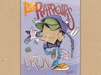 Les Rappeurs en carton box cardboard rap art illustration draw