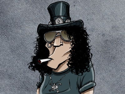 Slash guns n roses draw illustration slash