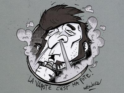 Smoke draw illustration electronic smoke