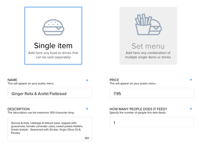Simple wireframe form food choice submit form