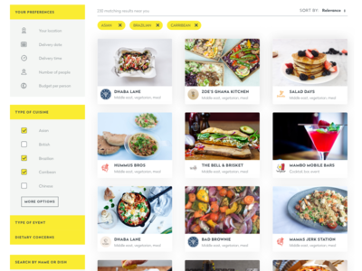 Search results page - new branding restaurant food results search