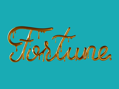 Fortune Gold lettering gold type cinema c4d