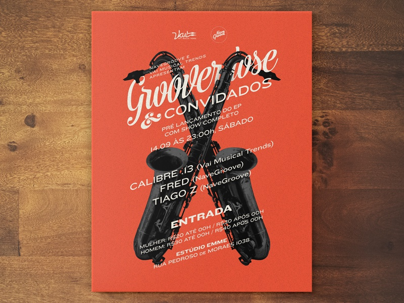 Grooverdose & Guests. flyer invite jazz acid jazz lettering typography sax show music
