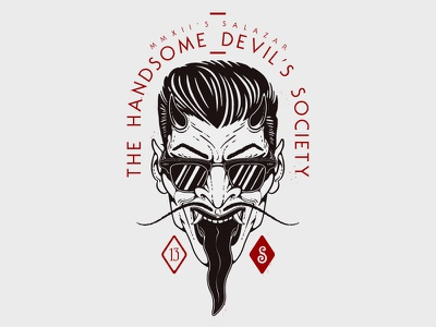 H.D.S. / Salazar illustration devil handsome devil traditional vector ray-ban horns kustom motorclub