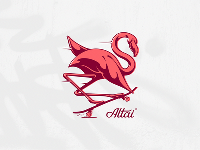 Altai Co. nose grab clothing company bird vector low brow speed skater illustration flamingo