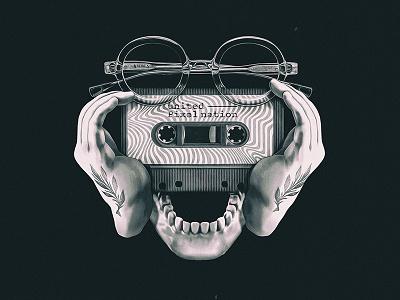 United Pixel Nation - Poster glass true leafs mixed media multidisciplinary audiotape tattoo experimental skull illustration