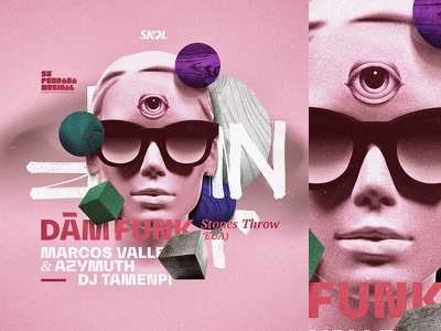 Dâm-Funk @ Só Pedrada Musical. stone throw synth funk illustration modern vintage forms space glow 80s pink experimental