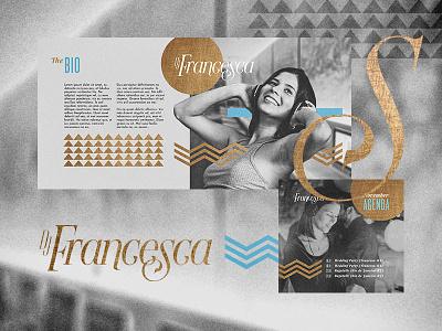 Francesca. chevron serif logo lettering fine texture chic weeding wedding deejay kv