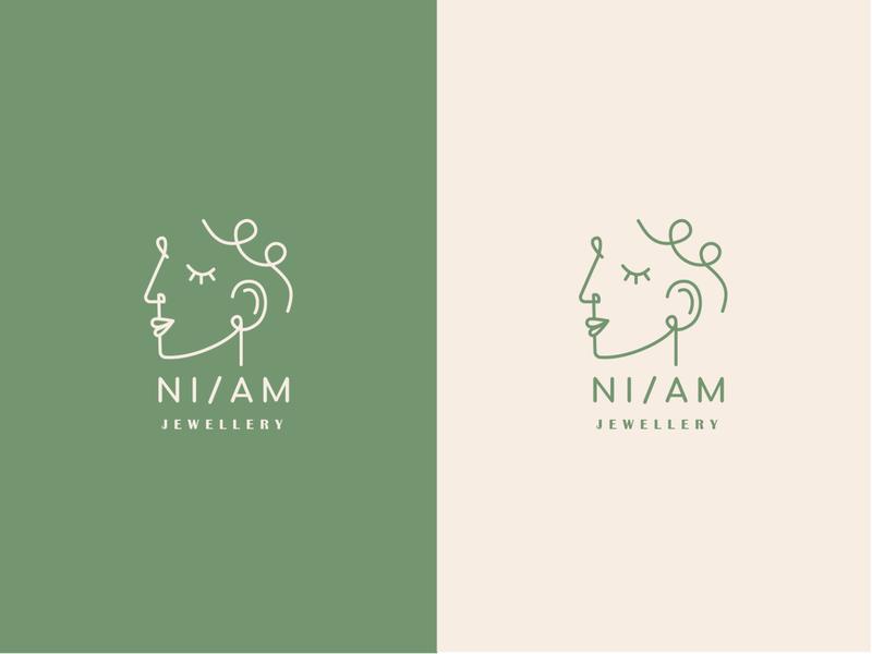 NI/AM branding logotype icon identity design logo jewellery identity branding graphic design design