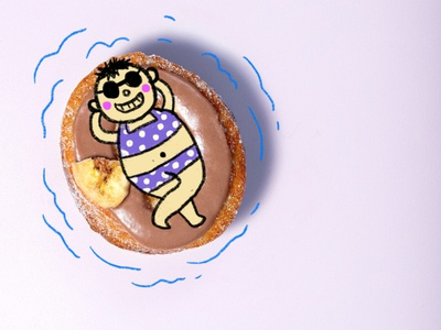 Donut swimming pool swimming pool procreate doodle pool donut food fun illustration