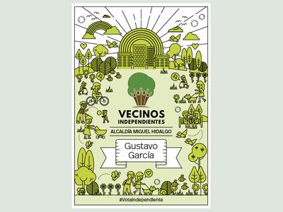 Vecinos Independientes monoline tree promo mexico park illustration color print poster