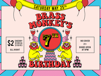 Brass Monkey Event Cover vintage retro 70s print design fun illustration