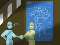 VivifyScrum EDU Robot Blueprint Illustration