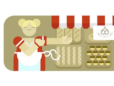 VivifyScrum EDU illustration bakery lovely woman girl character illustration germany german bread bakery baker